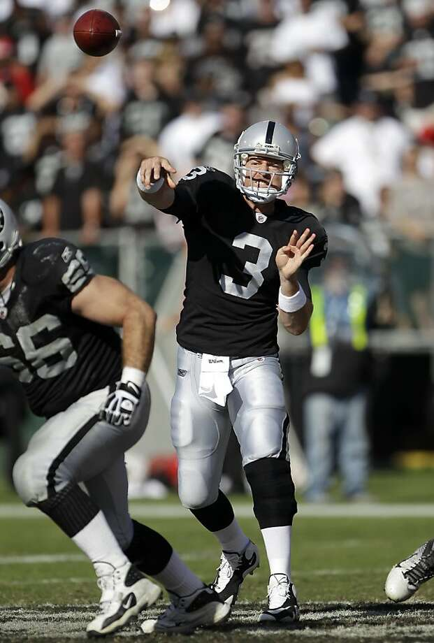 Oakland Raiders quarterback Carson Palmer (3) passes against the Kansas City Chiefs in an NFL football game in Oakland, Calif., Sunday, Oct. 23, 2011. (AP Photo/Paul Sakuma)  Ran on: 11-03-2011 Carson Palmer insists he has his arm strength back, although his statistics since his 2008 injury seem to indicate otherwise. Photo: Paul Sakuma, AP