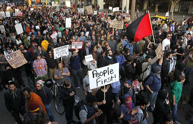 Hundreds join the march down Broadway as the Occupy Oakland protesters continue their cause as take to the streets of downtown Oakland, Ca., on Tuesday October 25, 2011. Photo: Michael Macor, The Chronicle