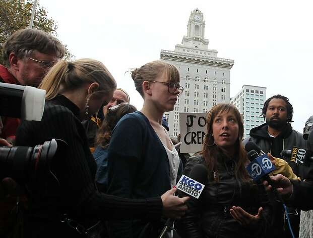 Members of Occupy Oakland's Media committee held a press conference to disavow night's violence Thursday, November 3, 2011 Photo: Lance Iversen, The Chronicle