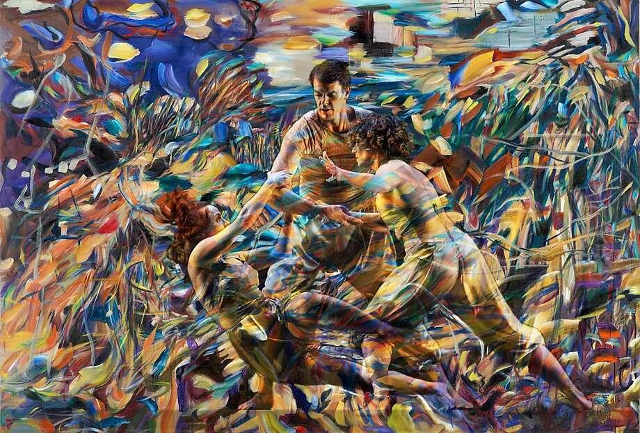 Naomie Kremer artwork for Margaret Jenkins Dance Company's world premier of Light Moves  Photo credit: Light Moves, L-R: Joseph Copley, Margaret Cromwell, Heidi Schweiker; Painting: Naomie Kremer; Photo: Mark Palmer; Graphic Design: Gino Squadrito, Lasercom Photo: Naomie Kremer
