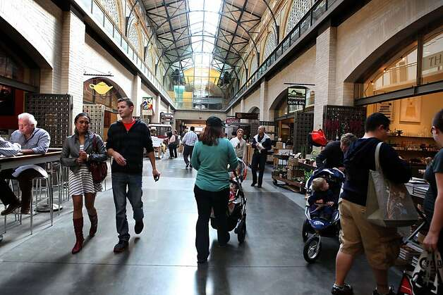 People browsing the shops and eateries at the Ferry building in San Francisco, Calif., during the lunch hour on Monday, November 1, 2011. Photo: Liz Hafalia, The Chronicle