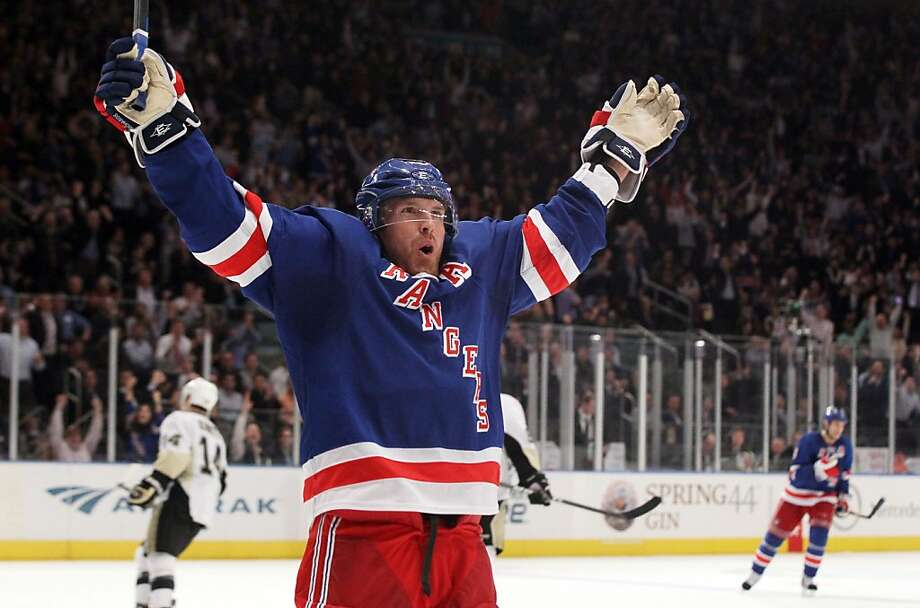 Brad Richards of the New York Rangers celebrates his second-period goal against the Pittsburgh Penguins on Tuesday, November 29, 2011 at Madison Square Garden in New York. (Jim McIsaac/Newsday/MCT) Photo: Jim McIsaac, MCT