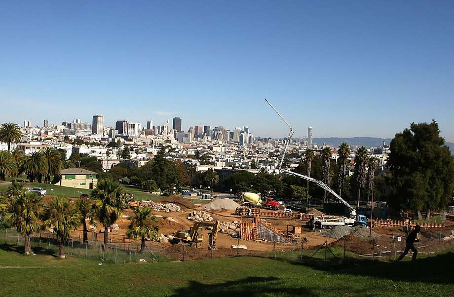 Overview of the playground construction at Dolores park going underway in San Francisco, Calif., on Wednesday, October 26, 2011.  Even though construction of the playground was community funded, neighbor Geoff Koziol mentions that the design wasn't quite that of the neighbors. Photo: Liz Hafalia, The Chronicle