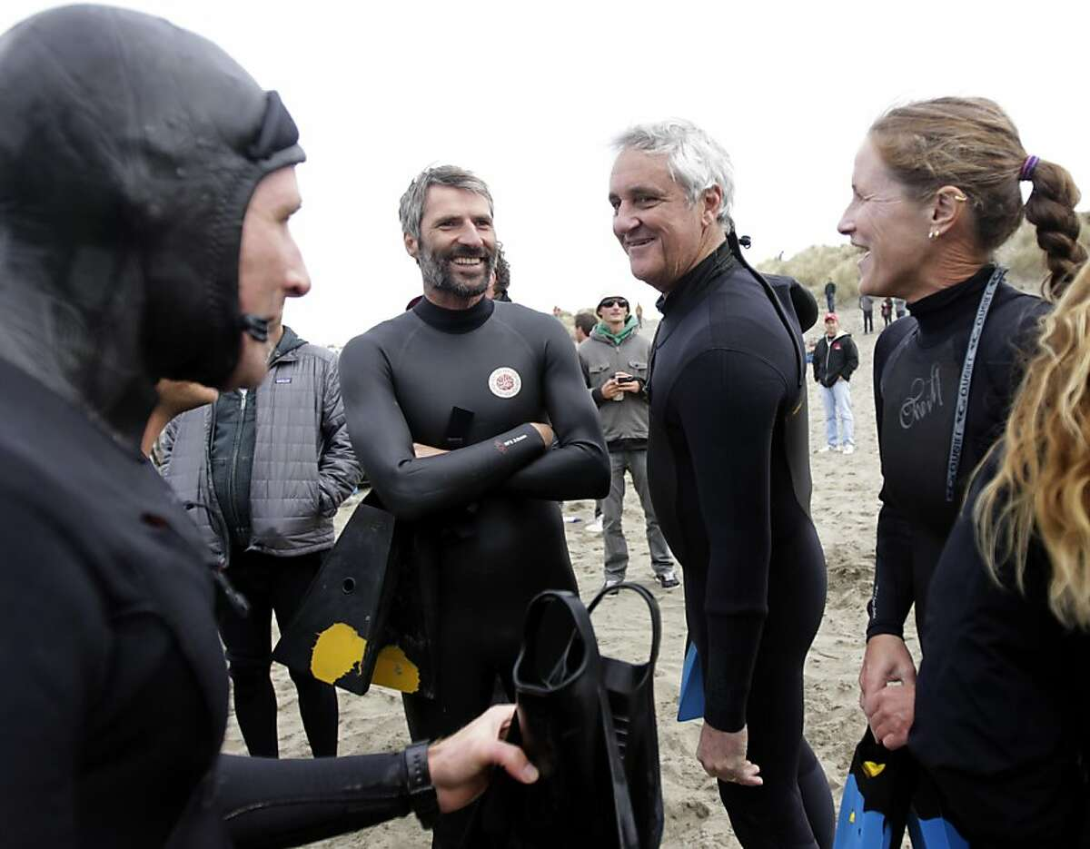 Bruce Jenkins (third from left) sizes up the competition before his heat in a bodysurfing contest at Ocean Beach in San Francisco, Calif. on Saturday, Nov. 5, 2011 on a day when the Rip Curl Pro Search surfing competition was delayed because of weather.