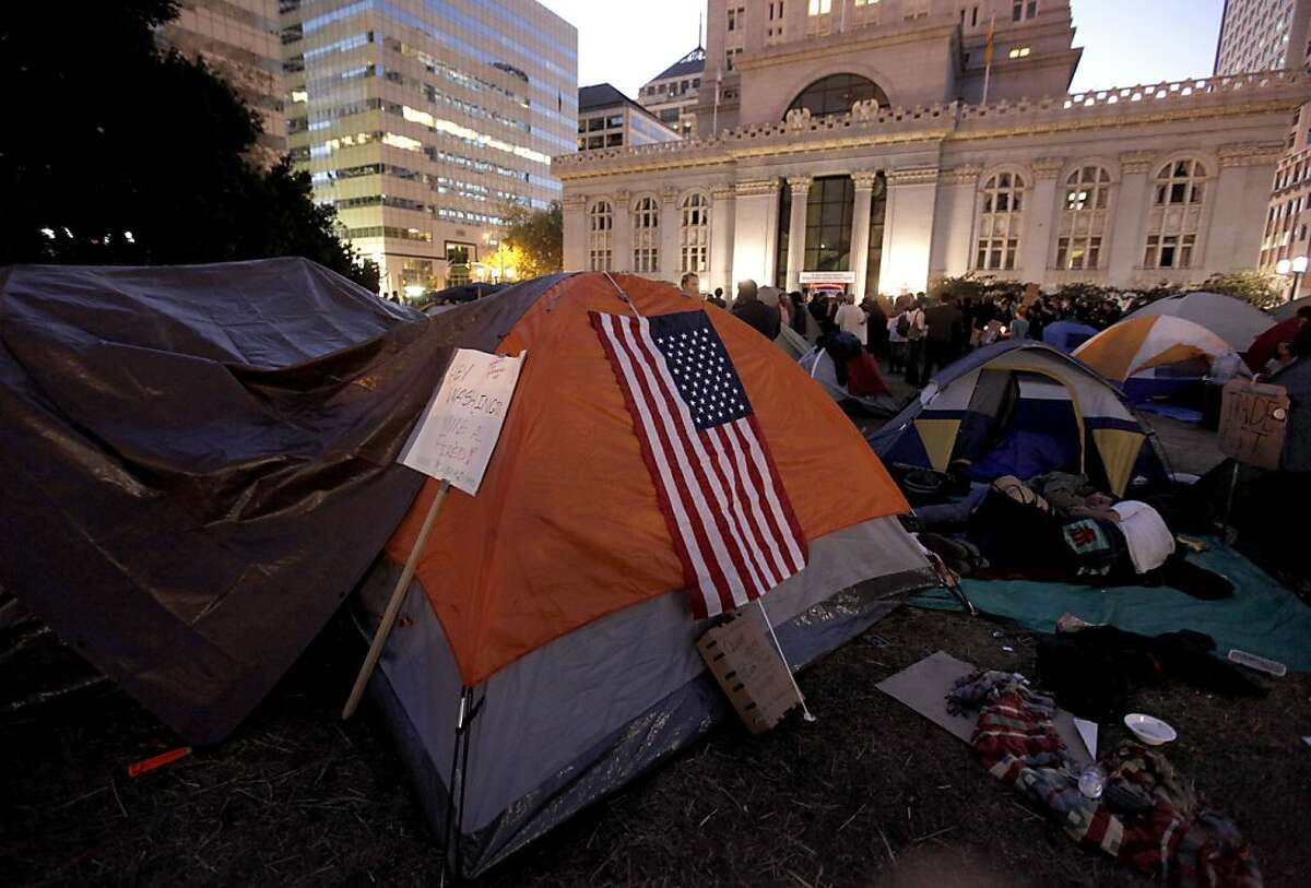 Occupy Oakland protesters continue to grow their encampment in Frank Ogawa Plaza in front of city hall in Oakland, Ca. on Saturday October 29, 2011.