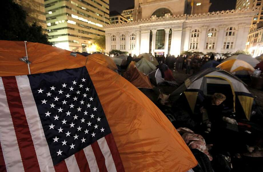 Occupy Oakland protesters continue to grow their encampment in Frank Ogawa Plaza in front of city hall in Oakland, Ca. on Saturday October 29, 2011. Photo: Michael Macor, The Chronicle