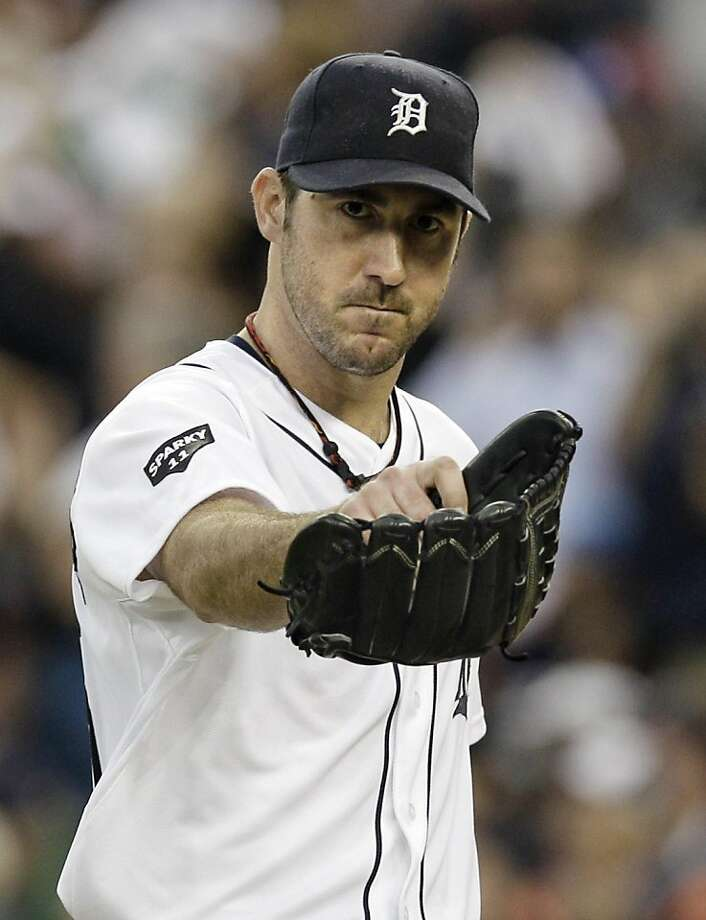 FILE - In this Oct. 13, 2011, file photo, Detroit Tigers starting pitcher Justin Verlander reacts after the final out in the sixth inning in Game 5 of baseball's American League championship series against the Texas Rangers in Detroit. Verlander has been awarded the Players Choice Award on Thursday, Nov. 3, 2011, in voting by the Major League Baseball Players Association. (AP Photo/Paul Sancya, File)  Ran on: 11-04-2011 Justin Verlander won the player of the year award from his union. Photo: Paul Sancya, AP