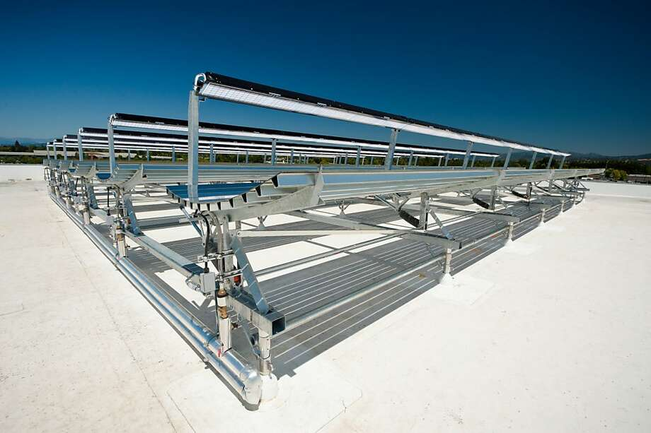 An undated product photo of a Cogenra solar installation. Cogenra GH Panels Photo: Cogenra Solar Inc