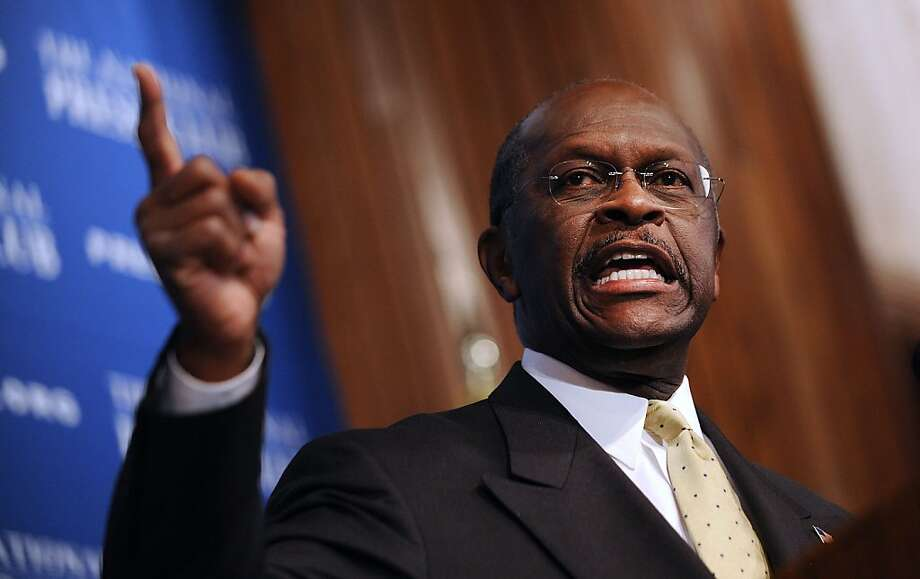 Republican Presidential candidate Herman Cain speaks at the National Press Club in Washington, D.C., Monday, October 31, 2011. (Olivier Douliery/Abaca Press/MCT) Photo: Olivier Douliery, MCT