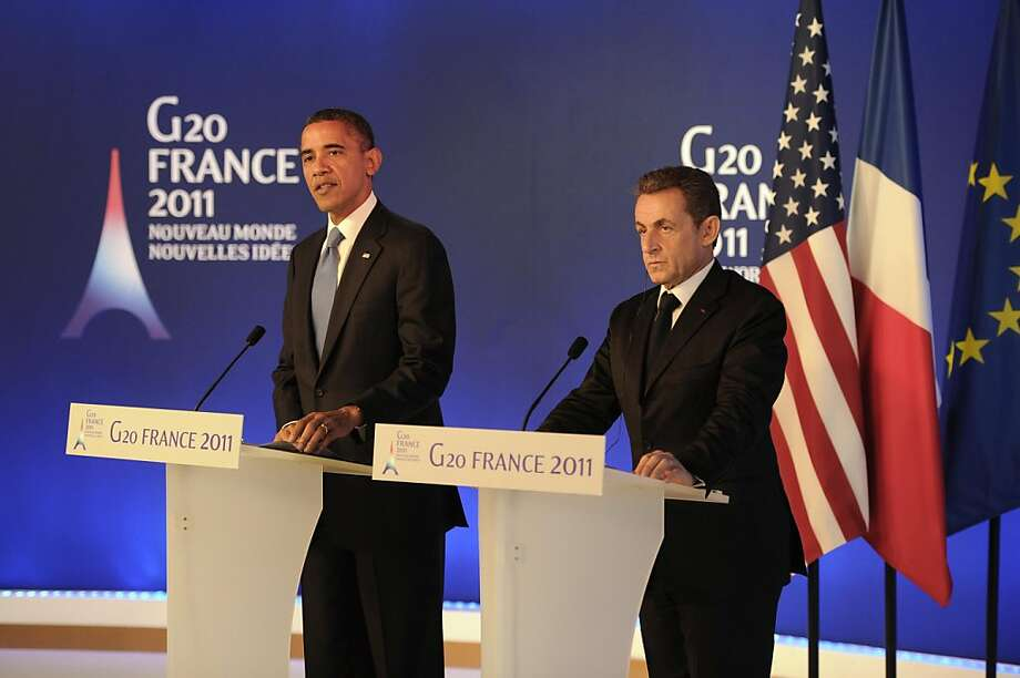 U.S. President Barack Obama (left) talks during a joint press conference with his French counterpart Nicolas Sarkozy on November 3, 2011 ahead of the start of the G20 Summit in Cannes, France.  (Lionel Bonaventure/PA Photos/Abaca Press/MCT) Photo: Lionel Bonaventure, MCT