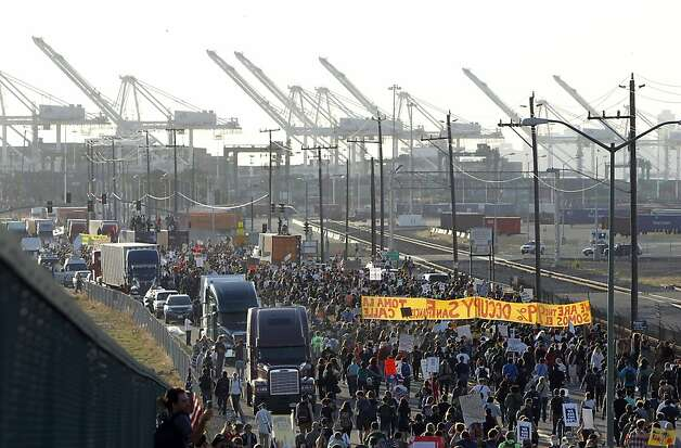 Occupy Oakland protesters numbering in the thousands shut down the Port of Oakland on Wednesday, November 2, 2011, during the General Strike. Photo: Lacy Atkins, The Chronicle