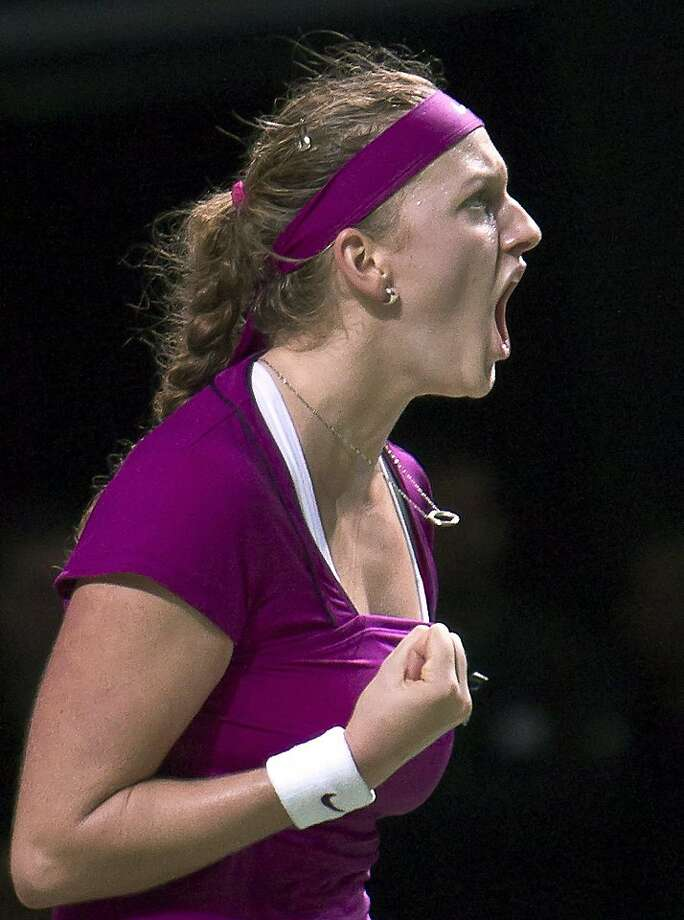 Czech Republic's Petra Kvitova reacts after winning a point during the final of the WTA Championships against Victoria Azarenka of Belarus  in Istanbul, Turkey, Sunday, Oct. 30, 2011.(AP Photo/Vadim Ghirda)  Ran on: 10-31-2011 Petra Kvitova will move to No. 2 in the world. Ran on: 10-31-2011 Petra Kvitova will move to No. 2 in the world. Photo: Vadim Ghirda, AP