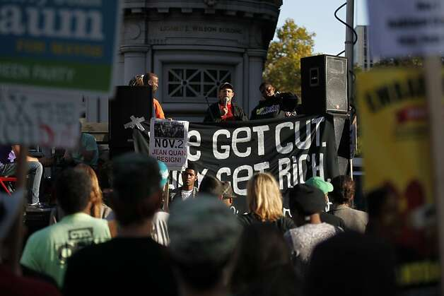 Speakers take turns rallying the crowd  in the intersection of 14th Street and Broadway near the Occupy Oakland campsite in the morning of Wednesday, November 2, 2011 in Oakland, Calif. Photo: Beck Diefenbach, Special To The Chronicle