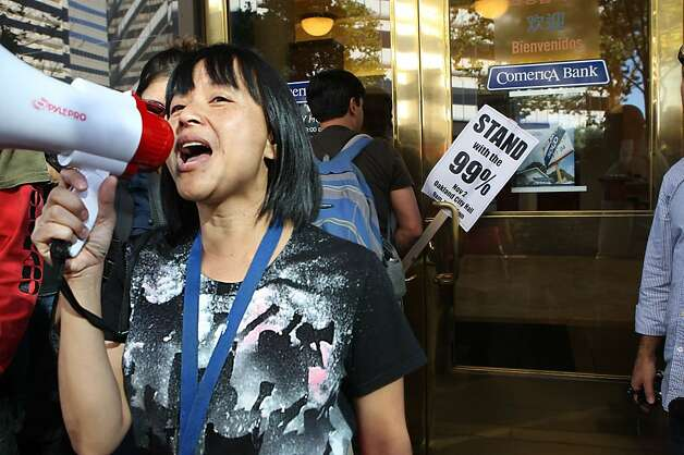 Yvette Felarca protesting in front of Comerica Bank on Broadway St. during the General Assembly of Occupy Oakland in Oakland, Calif., on Wednesday, November 2, 2011. Photo: Liz Hafalia, The Chronicle