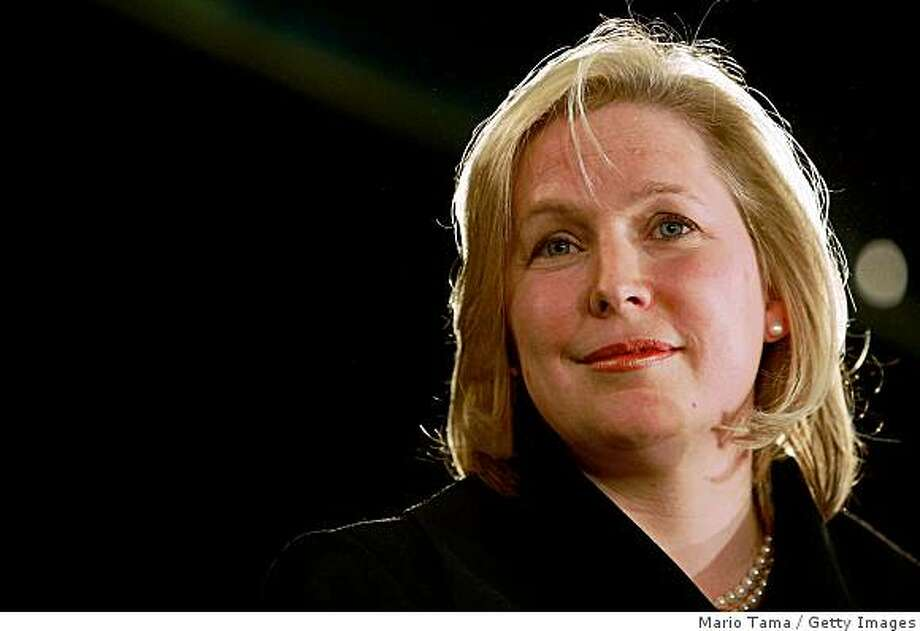 ALBANY, NEW YORK - JANUARY 23:  U.S. Rep. Kirsten Gillibrand (D-NY) looks on during a news conference announcing her as New York Gov. David A. Paterson's choice to fill the vacant U.S. Senate seat for New York on January 23, 2009 in Albany, New York. Caroline Kennedy withdrew her name from consideration a day before the announcement of the Governor's decision for filling the seat which was left vacant by the new Secretary of State Hillary Rodham Clinton.  (Photo by Mario Tama/Getty Images) Photo: Mario Tama, Getty Images