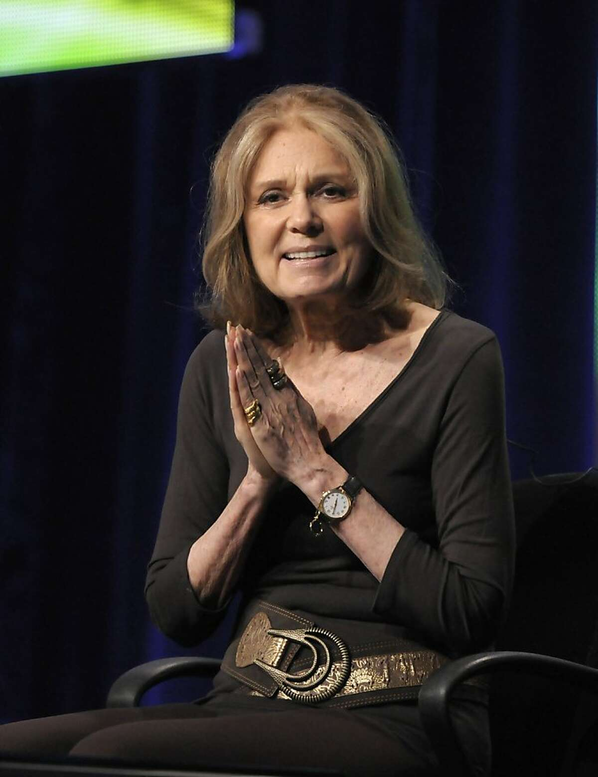 """Activist Gloria Steinem speaks during The Television Critics Association 2011 Summer Press Tour in Beverly Hills, Calif. on Thursday, July 28, 2011. Steinem is profiled in the upcoming documentary """"In Her Own Words"""" on HBO. (AP Photo/Dan Steinberg) Ran on: 08-13-2011 The documentary Gloria depicts the life of celebrated feminist Gloria Steinem. Ran on: 08-15-2011 Gloria Steinem is the subject of an HBO documentary Gloria: In Her Own Words."""