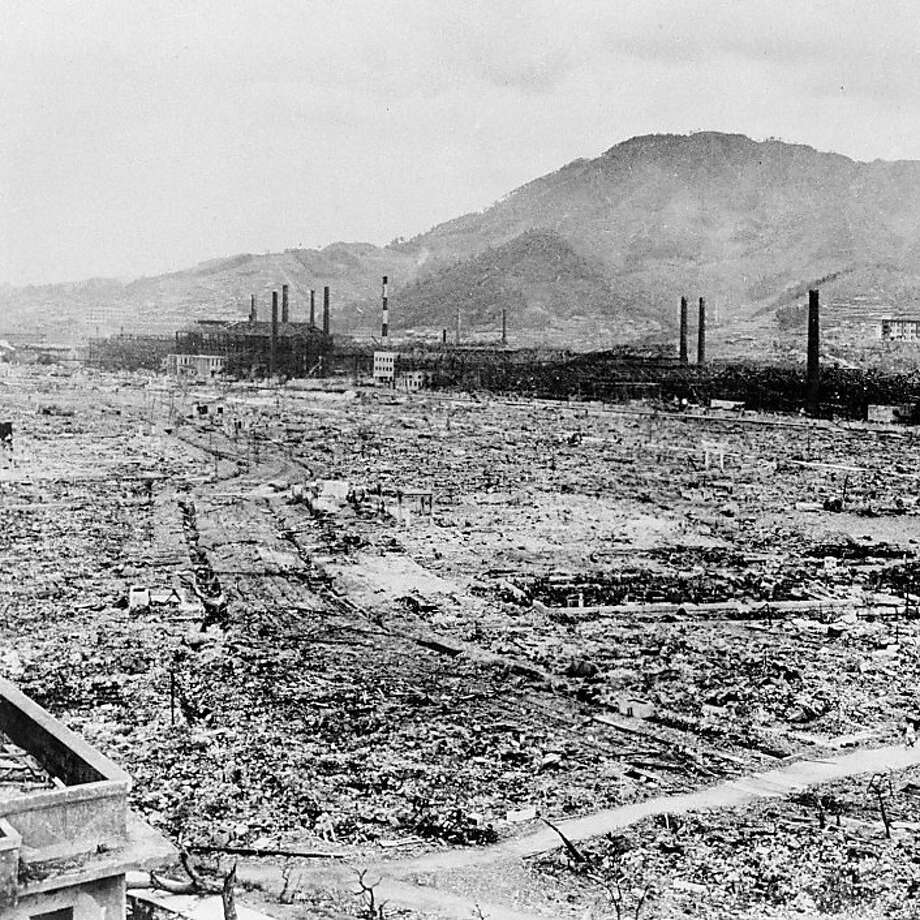 ADVANCE FOR USE SUNDAY, OCT. 23, 2011 AND THEREAFTER - This 1945 file photo shows destruction from a U.S. atomic bomb in Nagasaki, Japan. In the background are the remains of the Mitsubishi arms factory and a reinforced concrete school building at the foot of the hills. It seems as if violence is everywhere. Yet, historically, we've never had it this peaceful. That's the thesis of three new books, including one by Harvard psychologist Steven Pinker. Statistics reveal dramatic reductions in war deaths, family violence, racism, rape, murder and all sorts of mayhem. (AP Photo/U.S. Army)  Ran on: 10-30-2011 The destruction from a U.S. atomic bomb in Nagasaki, Japan, was overwhelming. Ran on: 10-30-2011 The destruction from a U.S. atomic bomb in Nagasaki, Japan, was overwhelming. Ran on: 10-30-2011 The destruction from a U.S. atomic bomb in Nagasaki, Japan, was overwhelming. Photo: U.S. Army, AP