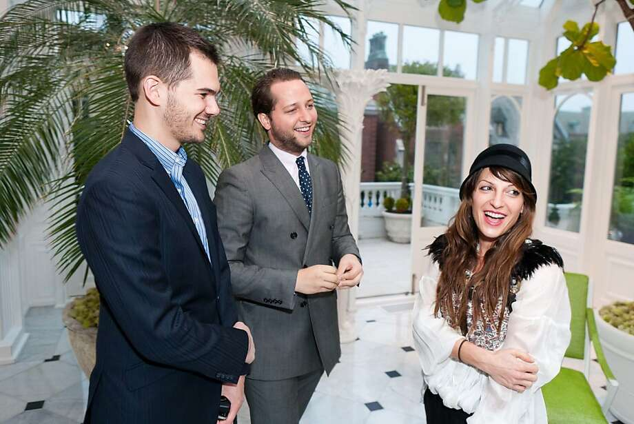 """Fashion writer Derek Blasberg, editor-at-large at Harper's Bazaar magazine, came to San Francisco Oct. 18 for a launch party for his book, """"Very Classy,"""" (Razorbill, 320 pages.) The book is a guide on stylish (versus trampy) living. The party was held at a private home in Pacific Heights. Here, we see Lyle Maltz, author Derek Blasberg and Curve boutique Nevena Borrisova. Photo: Drew Altizer"""