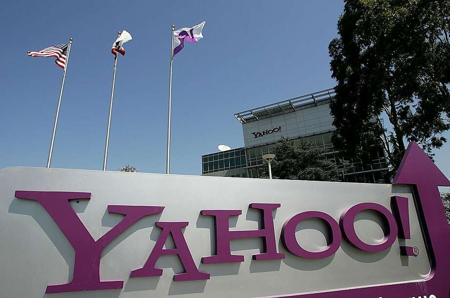 SUNNYVALE, CA - JULY 18:   (FILE PHOTO) A sign is seen in front of the Yahoo! headquarters July 18, 2006 in Sunnyvale, California. Internet giant Google is reported to be considering financing an acquisition of rival Yahoo, through an intermediary company, potentially creating a bidding war with search engine rival Microsoft. (Photo by Justin Sullivan/Getty Images) Photo: Justin Sullivan, Getty Images