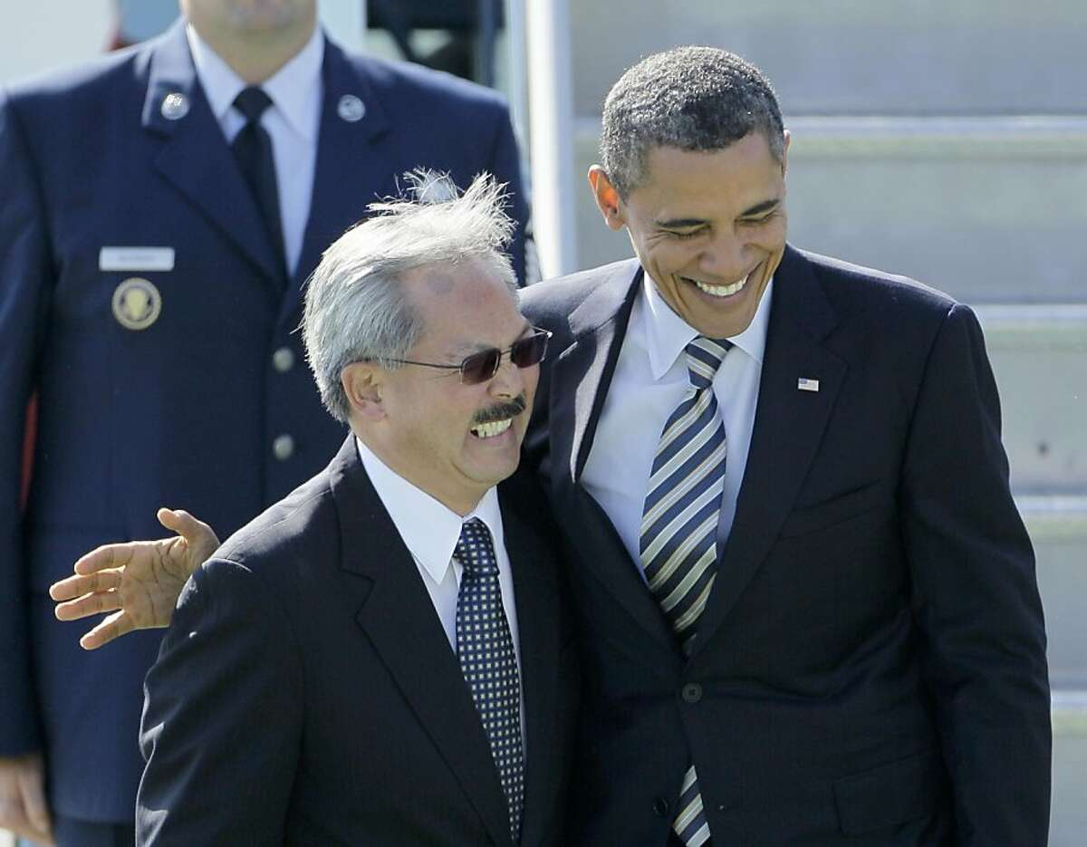 President Barack Obama laughs after being met by San Francisco Mayor Ed Lee, left, upon his arrival at San Francisco International airport in San Francisco, Tuesday, Oct. 25, 2011. Obama is on a three-day trip to the west coast. (AP Photo/Eric Risberg) Ran on: 10-30-2011 Mayor Ed Lee greets President Obama at San Francisco International Airport last week. Lee is campaigning to keep his job in the Nov. 8 election.