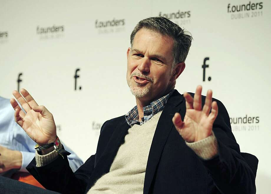 Reed Hastings, chief executive officer and president of Netflix Inc., gestures during an event at the Dublin Web Summit in Dublin, Ireland, on Friday, Oct. 28, 2011. Leaders of some of the world's leading technology companies gathered in Ireland for the Dublin Web Summit which runs Oct. 27-28. Photographer: Aidan Crawley/Bloomberg *** Local Caption *** Reed Hastings Photo: Aidan Crawley, Bloomberg