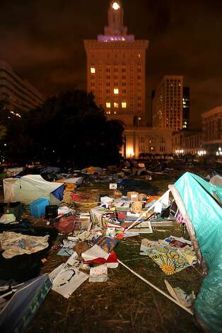 Occupy Oakland's city hall encampment lies in ruins after a police raid on Tuesday, Oct. 25, 2011, in Oakland, Calif. Photo: Noah Berger, Special To The Chronicle