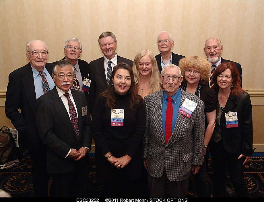 "Broadcast Legends' ""Bay  Area Radio Hall of Fame 2011 Inductees"" L->R: Gordon Greb; Shingo Kamada; Mike Adams; Hal Ramey; Jan Black; Laurie Roberts; John Doubleday; Stuart Hyde; Rosalie Howarth; Dan Odum; Kim Wonderly. Photo: Robert Mohr, Stock Options"