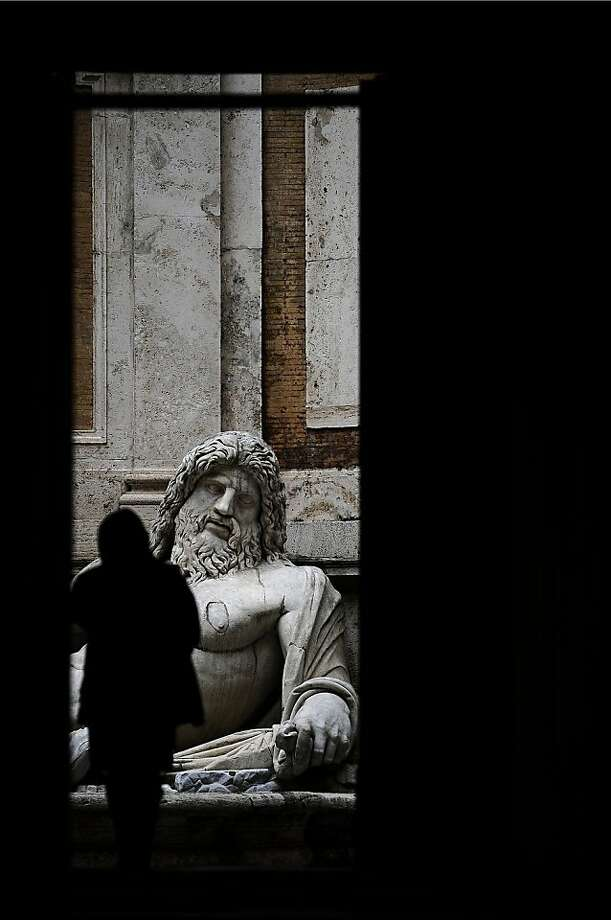 A view of a statue at the entrance of the Capitolini museums on Piazza del Campidoglio in central Rome on February 9, 2010. AFP PHOTO / Filippo MONTEFORTE (Photo credit should read FILIPPO MONTEFORTE/AFP/Getty Images)  A view of a statue at the entrance of the Capitolini museums on Piazza del Campidoglio in central Rome on February  9, 2010. AFP PHOTO / Filippo MONTEFORTE (Photo credit should read FILIPPO MONTEFORTE/AFP/Getty Images) Photo: Filippo Monteforte, AFP/Getty Images