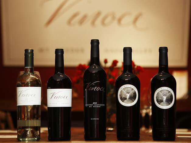 A selection of Vinoce wines in the Vinoce tasting room in downtown Napa, Calif., on Tuesday, Oct. 18, 2011.  From left to right, a Vinoce 2010 Sauvignon Blanc, a Vinoce 2077 Pinot Noir, a Vinoce 2008 Cabernet Sauvignon, a Twenty Rows Merlot, and a Twenty Rows Cabernet Sauvignon. Photo: Dylan Entelis, The Chronicle