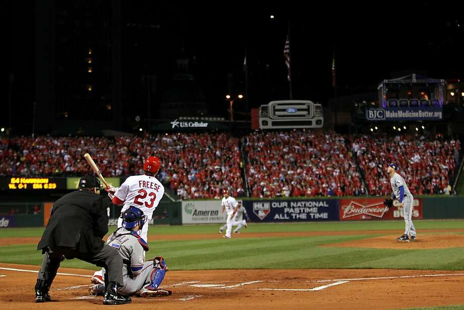 ST LOUIS, MO - OCTOBER 28:  David Freese #23 of the St. Louis Cardinals hits a two-run double in the first inning off of Matt Harrison #54 of the Texas Rangers during Game Seven of the MLB World Series at Busch Stadium on October 28, 2011 in St Louis, Missouri.  (Photo by Ezra Shaw/Getty Images) *** BESTPIX *** Photo: Ezra Shaw, Getty Images
