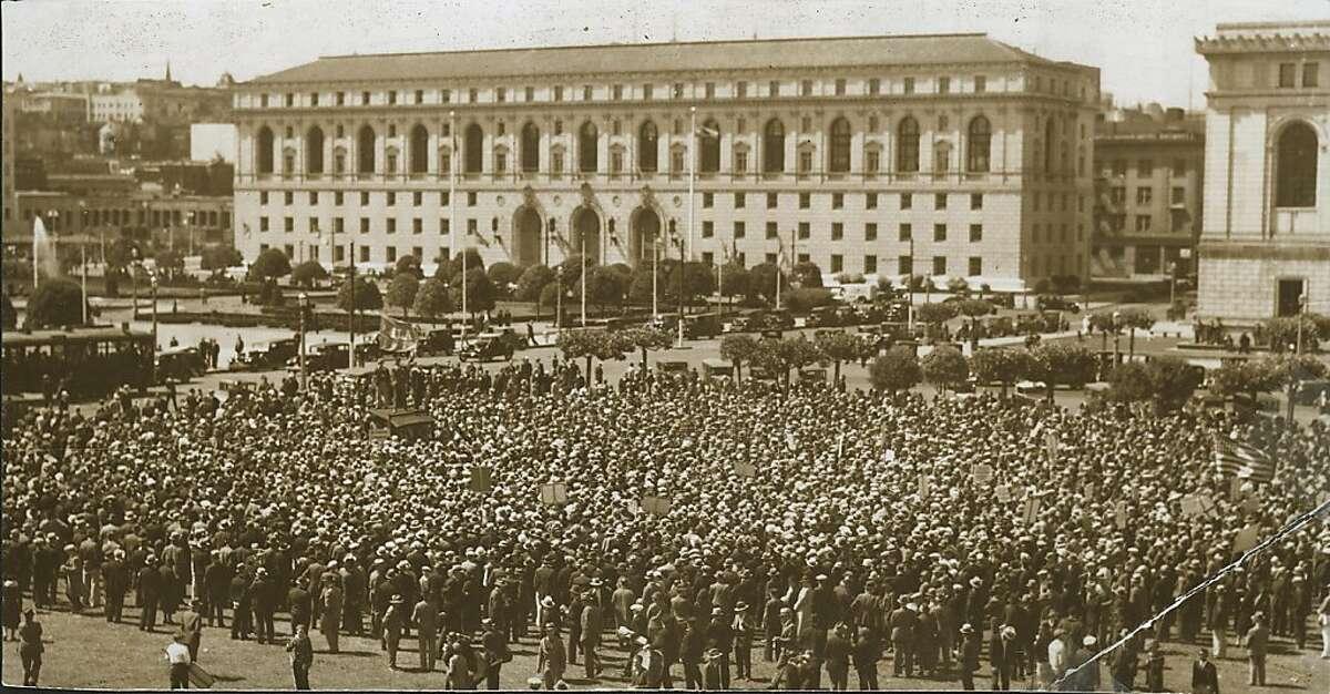 longshoremen6.jpg May 14, 1934 Longshoremen strikers at SF City Hall. Maritime Strike 1934.