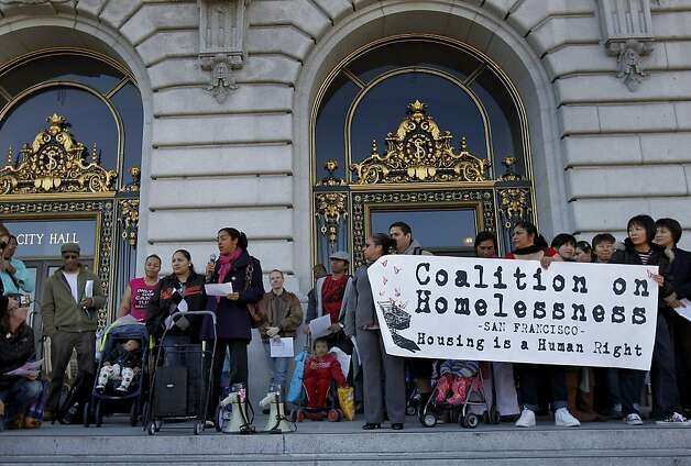 Dozens of homeless families and their supporters rallied on the steps of City Hall Tuesday November 29, 2011. A determined group of homeless families and their supporters held a rally at San Francisco, Calif. City Hall and then demanded a meeting with Mayor Ed Lee about the homeless family predicament in the city.   Ran on: 11-30-2011 Photo caption Dummy text goes here. Dummy text goes here. Dummy text goes here. Dummy text goes here. Dummy text goes here. Dummy text goes here. Dummy text goes here. Dummy text goes here.###Photo: homeless30_PH31322438400SFC###Live Caption:Dozens of homeless families and their supporters rallied on the steps of City Hall Tuesday November 29, 2011. A determined group of homeless families and their supporters held a rally at San Francisco, Calif. City Hall and then demanded a meeting with Mayor Ed Lee about the homeless family predicament in the city.###Caption History:Dozens of homeless families and their supporters rallied on the steps of City Hall Tuesday November 29, 2011. A determined group of homeless families and their supporters held a rally at San Francisco, Calif. City Hall and then demanded a meeting with Mayor Ed Lee about the homeless family predicament in the city.###Notes:Brant Ward, 415.606.3744###Special Instructions:**MANDATORY CREDIT FOR PHOTOG AND SF CHRONICLE-NO SALES-MAGS OUT-TV OUT-INTERNET: AP MEMBER NEWSPAPERS ONLY** Ran on: 11-30-2011 Photo caption Dummy text goes here. Dummy text goes here. Dummy text goes here. Dummy text goes here. Dummy text goes here. Dummy text goes here. Dummy text goes here. Dummy text goes here.###Photo: homeless30_PH31322438400SFC###Live Caption:Dozens of homeless families and their supporters rallied on the steps of City Hall Tuesday November 29, 2011. A determined group of homeless families and their supporters held a rally at San Franc Photo: Brant Ward, The Chronicle