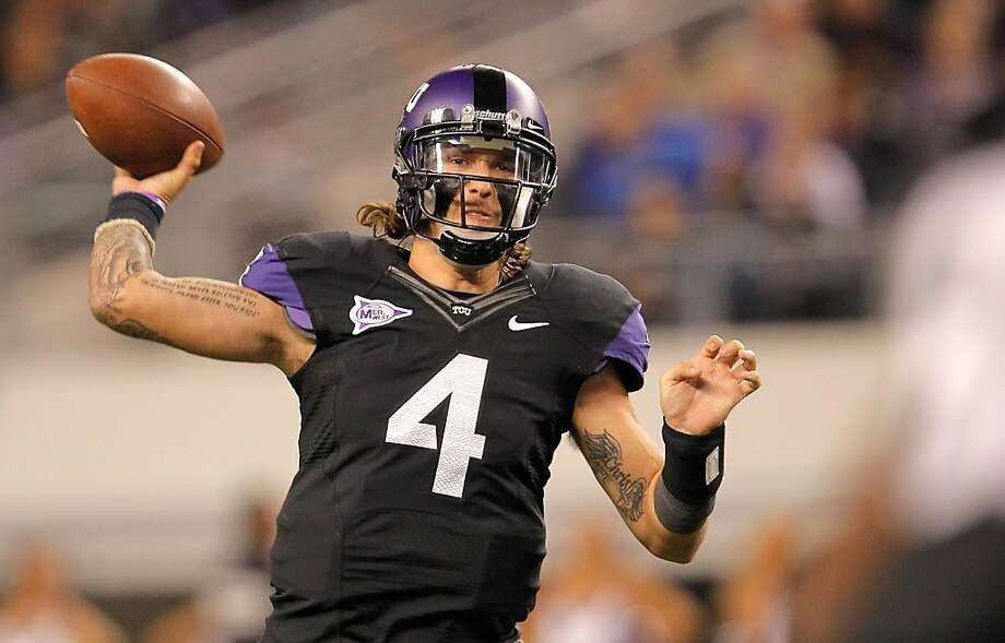 ARLINGTON, TX - OCTOBER 28:  Casey Pachall #4 of the TCU Horned Frogs throws during a game against the BYU Cougars at Cowboys Stadium on October 28, 2011 in Arlington, Texas.  (Photo by Sarah Glenn/Getty Images) Photo: Sarah Glenn, Getty Images