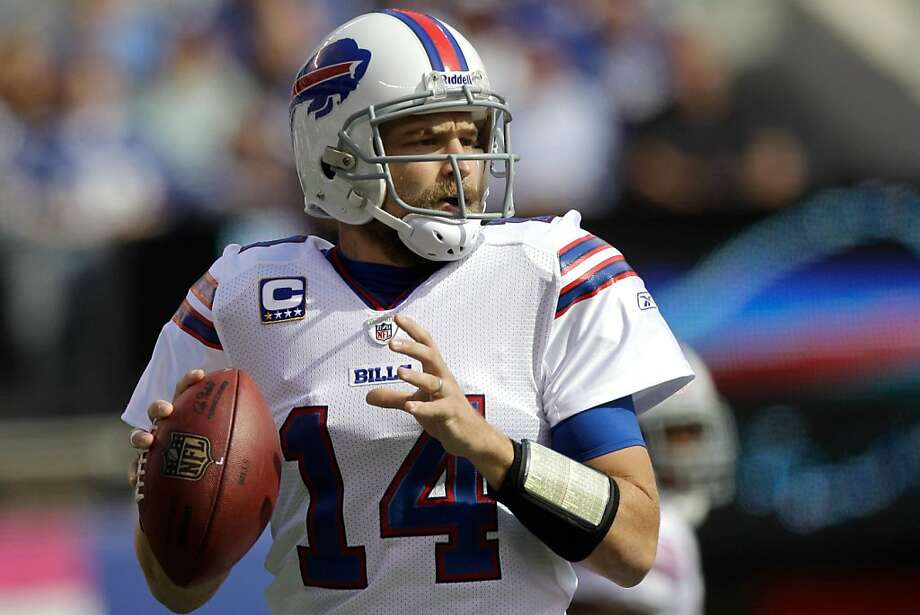 Buffalo Bills quarterback Ryan Fitzpatrick (14) prepares to pass during the second quarter of an NFL football game  Sunday, Oct. 16, 2011, in East Rutherford, N.J.  (AP Photo/Kathy Willens) Photo: Kathy Willens, AP