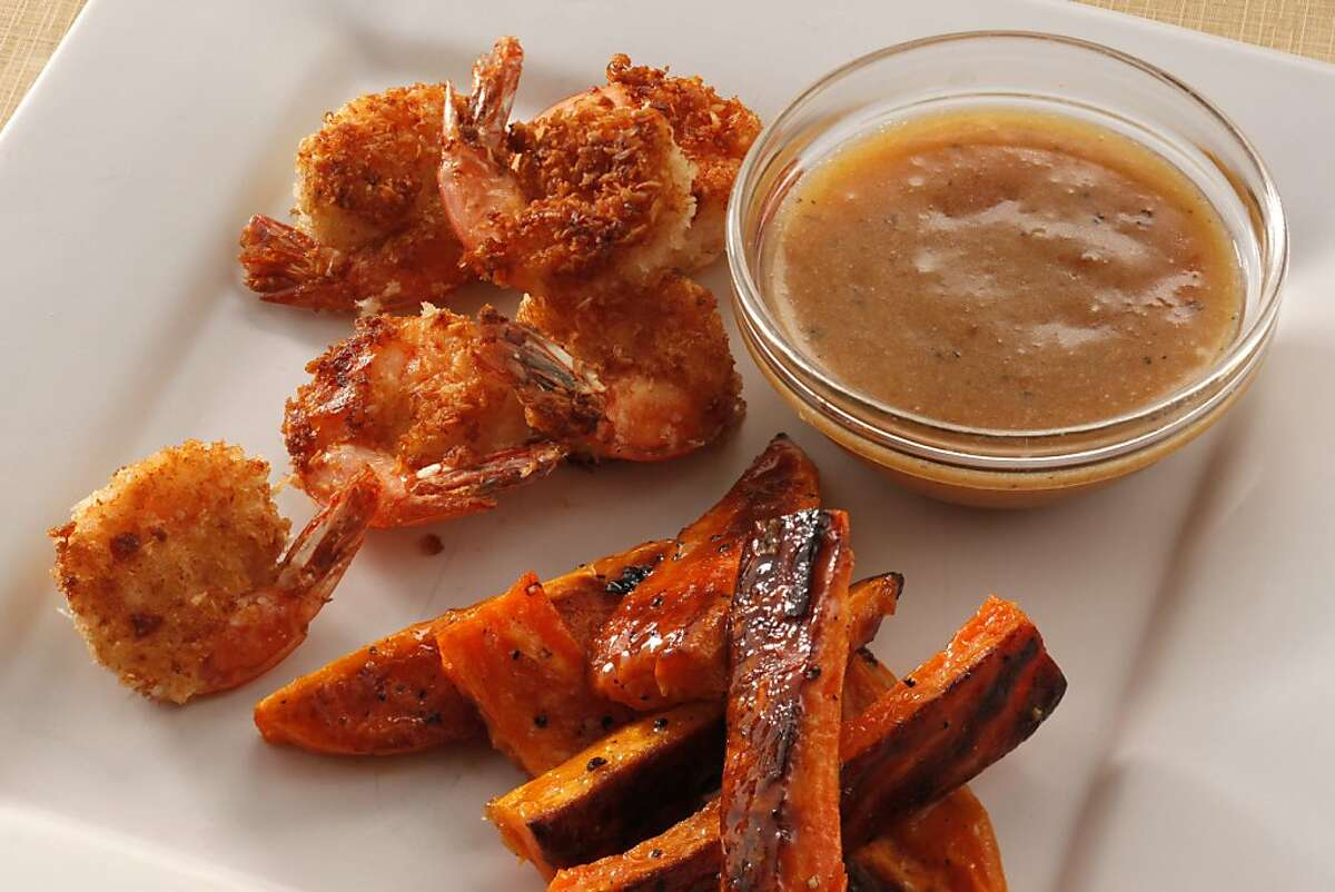 Coconut Shrimp with Orange-Glazed Yams & Dipping Sauce as seen in San Francisco, California, on Wednesday, October 12, 2011. Food styled by Amanda Gold.