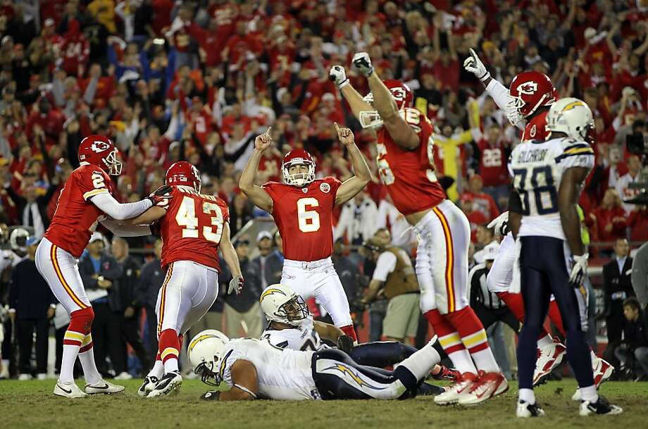 KANSAS CITY, MO - OCTOBER 31:  Kicker Matt Succop #6 of the Kansas City Chiefs celebrates with teammates after kicking a game-winning field goal in overtime to win the game against the San Diego Chargers on October 31, 2011 at Arrowhead Stadium in Kansas City, Missouri.  (Photo by Jamie Squire/Getty Images) Photo: Jamie Squire, Getty Images