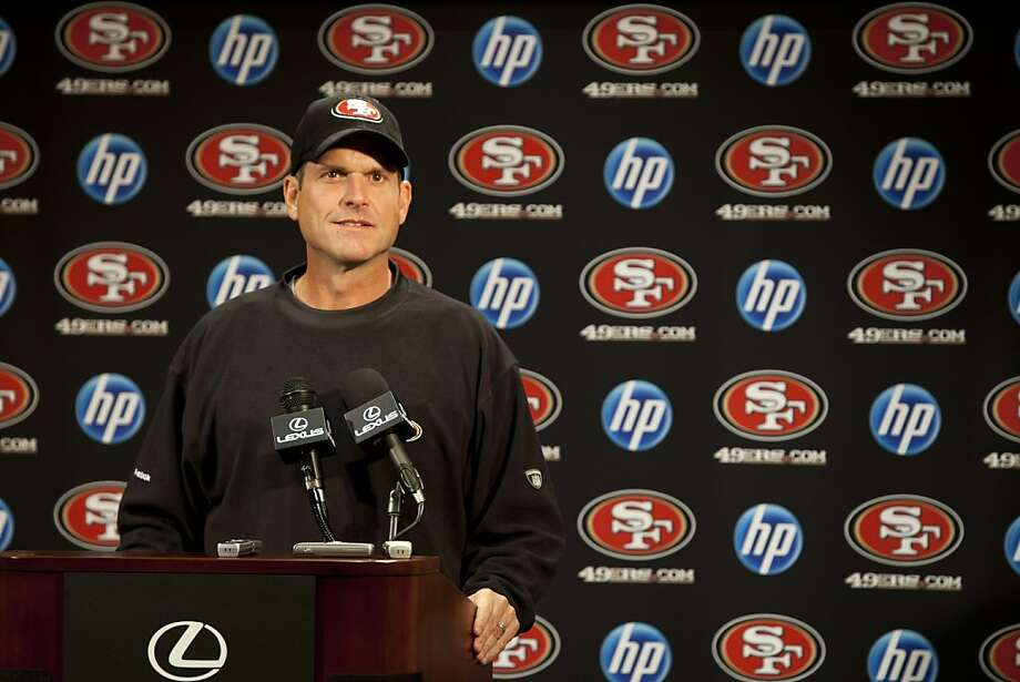 49ers Head Coach Jim Harbaugh holds a press conference following the fight that broke out postgame on Sunday with Detroit Lions Head Coach Jim Schwartz on Monday, October 17, 2011 in Santa Clara, Calif.  Harbaugh says he has he will not apologize to Schwartz. Photo: John Sebastian Russo, Special To The Chronicle