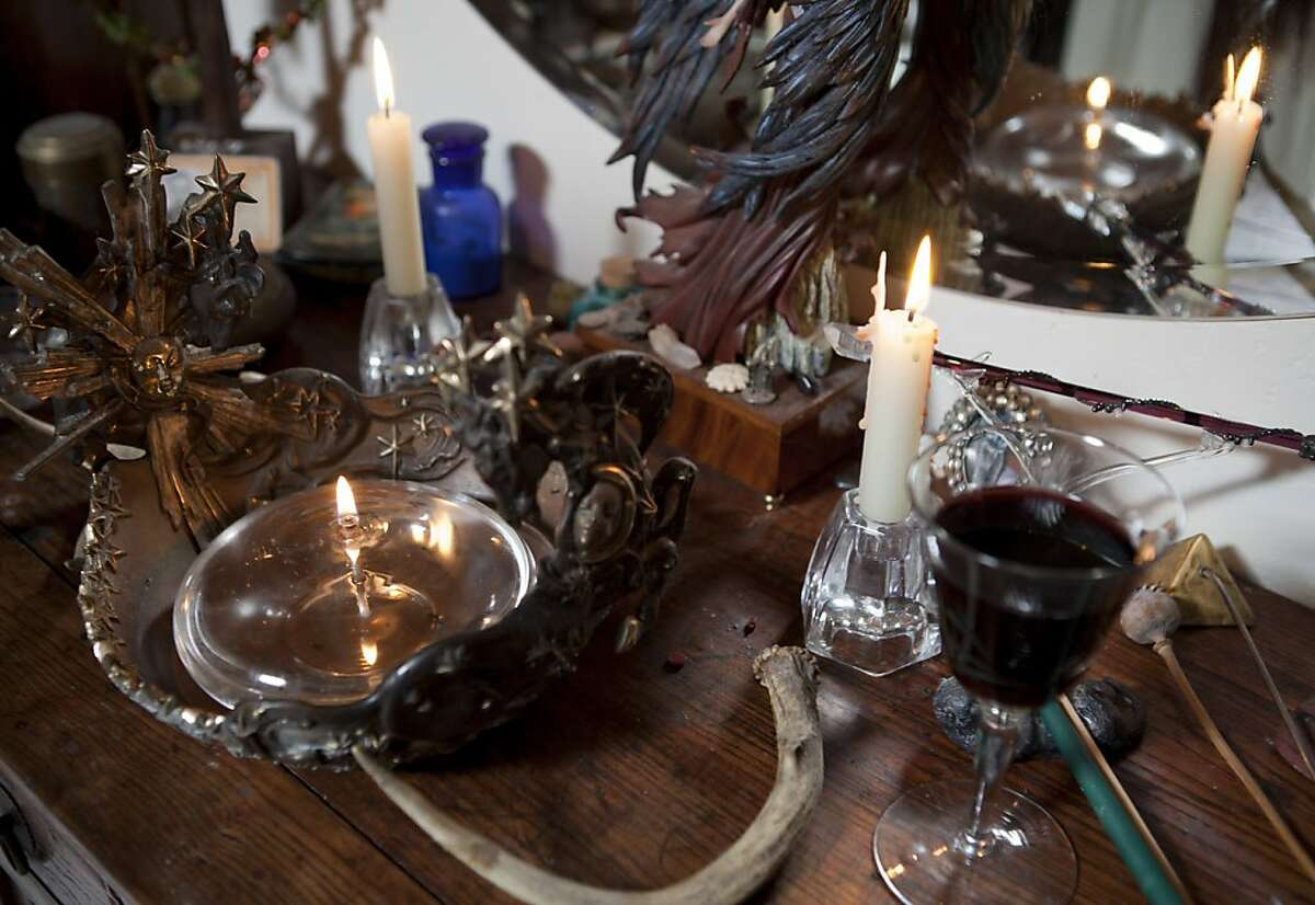 The alter of Wiccan Priestess Linnea Dunn is filled with religiously significant items including the ashes her deceased friends and family of on Tuesday, September 27, 2011 in Santa Cruz, Calif. Dunn has been a Wiccan priestess for 34 years.