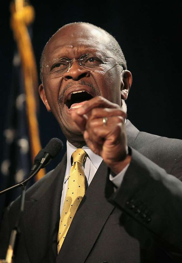 DES MOINES, IA - OCTOBER 22:  Republican Presidential Candidate Herman Cain speaks to a gathering of conservative Christians at the Iowa Faith & Freedom Coalition Presidential Forum on October 22, 2011 in Des Moines, Iowa. Candidates Herman Cain, Michele Bachmann, Rick Perry, Newt Gingrich, Ron Paul, and Rick Santorum are scheduled to speak at the event, all hoping to gain support of the roughly 1000 in attendance in front of the January 3, 2012 Iowa caucus.  (Photo by Scott Olson/Getty Images) Photo: Scott Olson, Getty Images
