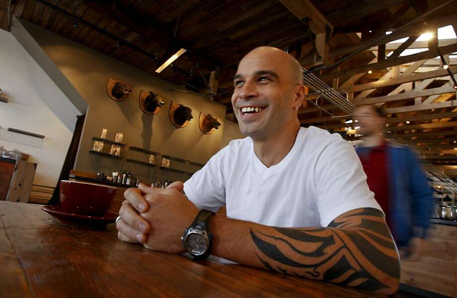 Mourad Lahlou who is the head chef at Aziza he is in one of his favorite places Four Barrel Coffee on Valencia St . on Friday Jan 9,  2009 in San Francisco , Calif    Ran on: 01-18-2009 Mourad Lahlou, chef and owner of Aziza, favors Four Barrel Coffee on Valencia Street, in part because of its &quo;really nice design.&quo;  Ran on: 10-30-2011 Mourad Lahlou, chef-owner of San Francisco's Aziza, highlights the restaurant's more modern recipes in his book. Photo: Kurt Rogers, The Chronicle