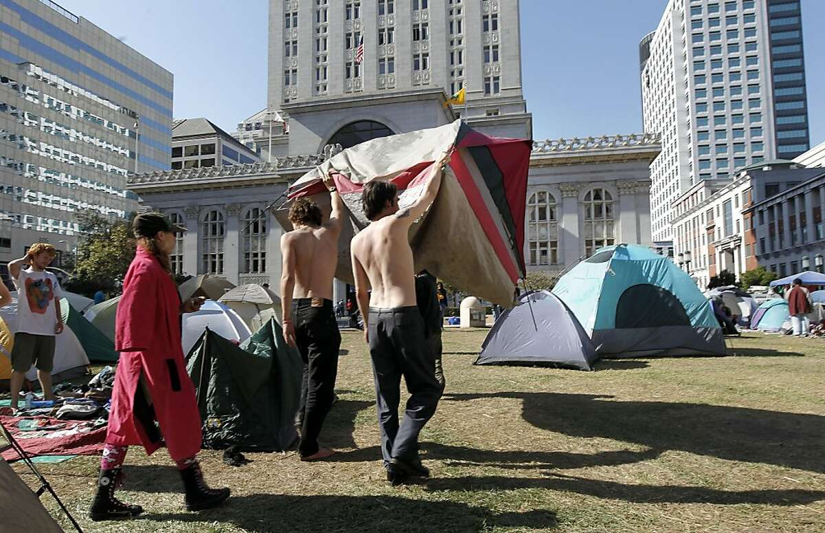 Tents continue to fill Frank Ogawa PLaza, as the Occupy Oakland encampment is put back together and grow, with more than fifty tents already in place, in front of city hall in Oakland, Ca. on Friday October 28, 2011.