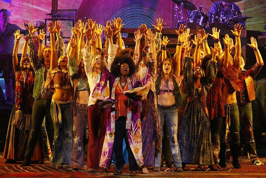 "Phyre Hawkins, as ""Dionne"", leading the cast of ""Hair"" in song at Golden Gate Theater in San Francisco, Calif., on Wednesday, Oct. 26, 2011. Photo: Dylan Entelis, The Chronicle"