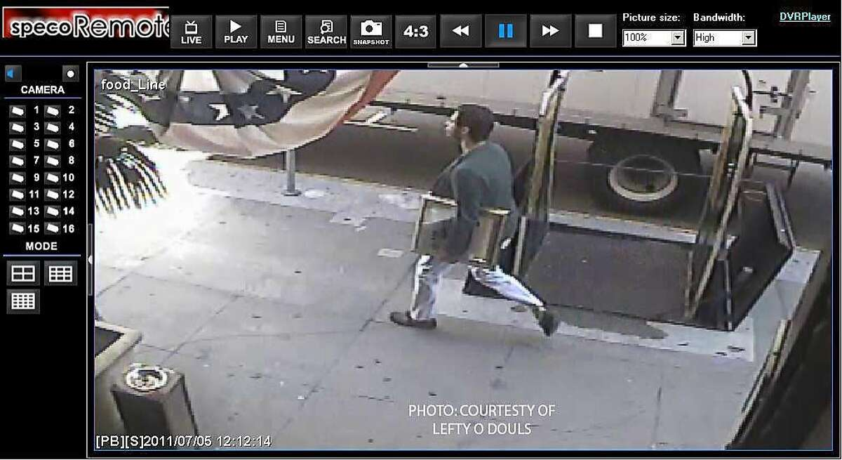 Surveillance video from a local bar shows the suspected thief of a Picasso pencil drawing strolling up Geary with the artwork tucked under his arm. Ran on: 07-07-2011 Surveillance video from Lefty ODouls shows the suspect going up Geary with the Picasso under his arm. Ran on: 07-07-2011 Surveillance video from Lefty ODouls shows the suspect going up Geary with the Picasso under his arm. Ran on: 07-08-2011 A surveillance video from Lefty ODouls restaurant, near the gallery from which the Picasso was stolen, shows the suspect. Ran on: 07-08-2011 A surveillance video from Lefty ODouls restaurant, near the gallery from which the Picasso was stolen, shows the suspect.