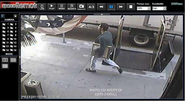 Surveillance video from a local bar shows the suspected thief of a Picasso pencil drawing strolling up Geary with the artwork tucked under his arm.    Ran on: 07-07-2011 Surveillance video from Lefty O'Doul's shows the suspect going up Geary with the Picasso under his arm. Ran on: 07-07-2011 Surveillance video from Lefty O'Doul's shows the suspect going up Geary with the Picasso under his arm. Ran on: 07-08-2011 A surveillance video from Lefty O'Doul's restaurant, near the gallery from which the Picasso was stolen, shows the suspect. Ran on: 07-08-2011 A surveillance video from Lefty O'Doul's restaurant, near the gallery from which the Picasso was stolen, shows the suspect. Photo: Courtesy Lefty O'Doul's