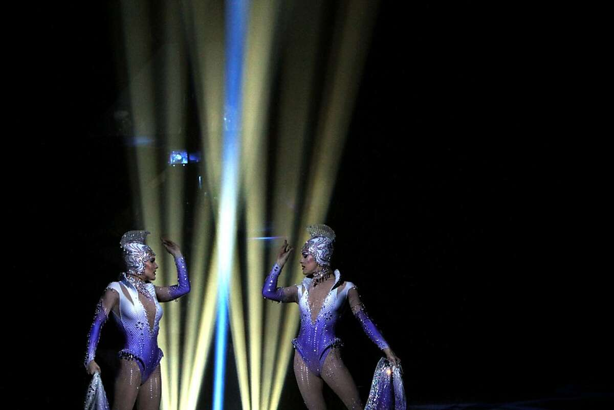 The crystal ladies perform during Cirque du Soleil's production of Totem at the Grand Chapiteau tent at AT&T Park in San Francisco, Calif., Thursday, October 27, 2011.