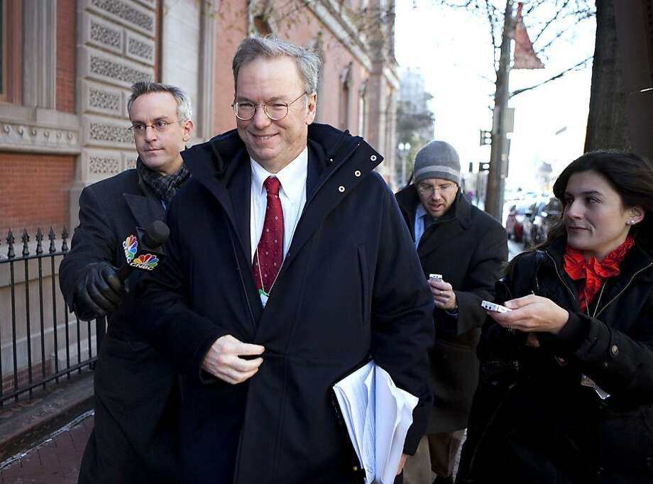 Eric Schmidt, chairman and chief executive officer of Google Inc., arrives for a meeting with U.S. President Barack Obama and other business leaders at Blair House in Washington, D.C., U.S., on Wednesday, Dec. 15, 2010. As Obama holds his largest private meeting with chief executive officers since he entered the White House, he may find some of his corporate critics cheering. Photographer: Joshua Roberts/Bloomberg *** Local Caption *** Eric Schmidt  Ran on: 12-16-2010 Among top CEOs who met with President Obama were John Chambers (clockwise from top left) of Cisco Systems; Ellen Kullman of DuPont; Google's Eric Schmidt; and Kenneth Chenault of American Express. Photo: Joshua Roberts, Bloomberg