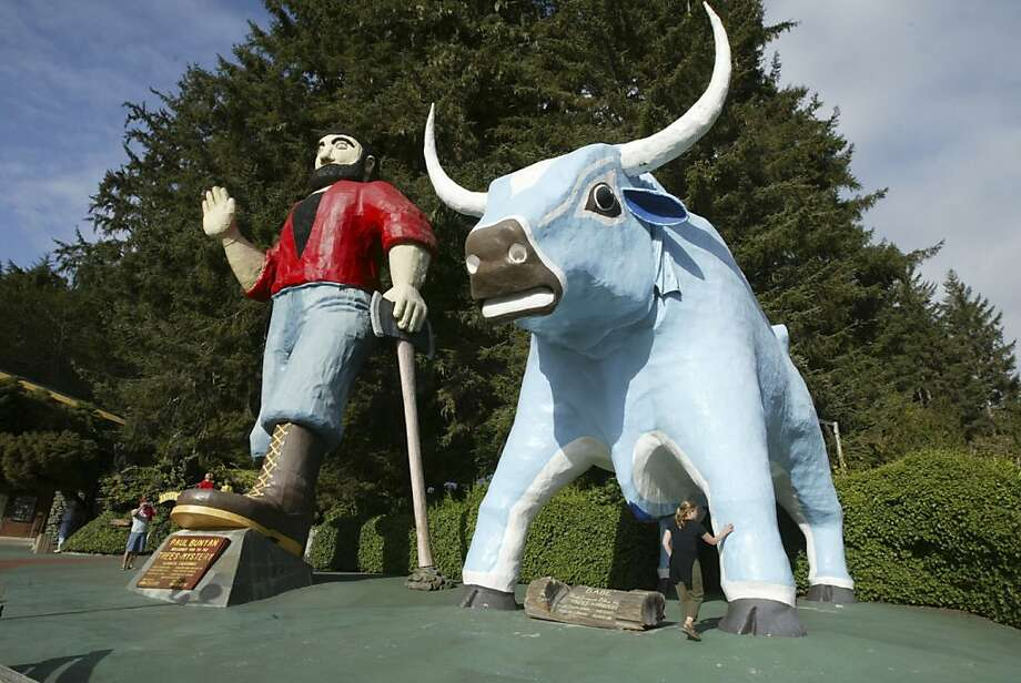"""NORTHCOAST12_186_MJM.jpg Tourists are dwarfed by sculptures of Paul Bunyan (49 feet 2 inches) and """"Babe"""" his blue ox (35 feet) at the """"Trees of Mystery"""" tourist attraction just north of Klamath. A look at the the Yurok tribe and the Klamath River where the kayakers are camped after their Day 3 paddle from Crescent City to the mouth of the Klamath River. Rediscovering California's North Coast. A kayak voyage by Paul McHugh, Bo Barnes and John Weed. A paddle from the Oregon border to the SF bay. Photo taken on 9/10/05 in Klamath, CA by Michael Maloney / San Francisco Chronicle Ran on: 09-15-2005 Photo caption Dummy text goes here. Dummy text goes here. Dummy text goes here. Dummy text goes here. Dummy text goes here. Dummy text goes here. Dummy text goes here. Dummy text goes here. Ran on: 10-30-2011 Photo caption Dummy text goes here. Dummy text goes here. Dummy text goes here. Dummy text goes here. Dummy text goes here. Dummy text goes here. Dummy text goes here. Dummy text goes here.<137,1970-12-18-17-21-52,><252>###Photo: fiveplaces30_ph2<252>1126224000<252>The Chronicle<252>###Live Caption:Tourists are dwarfed by sculptures of Paul Bunyan (49 feet 2 inches) and """"Babe"""" his blue ox (35 feet) at the """"Trees of Mystery"""" tourist attraction just north of Klamath.###Caption History:NORTHCOAST12_186_MJM.jpg__Tourists are dwarfed by sculptures of Paul Bunyan (49 feet 2 inches) and """"Babe"""" his blue ox (35 feet) at the """"Trees of Mystery"""" tourist attraction just north of Klamath.__A look at the the Yurok tribe and the Klamath River where the kayakers are camped after their Day 3 paddle from Crescent City to the mouth of the Klamath River.__Rediscovering California's North Coast. A kayak voyage by Paul McHugh, Bo Barnes and John Weed. A paddle from... Photo: Michael Maloney, The Chronicle"""