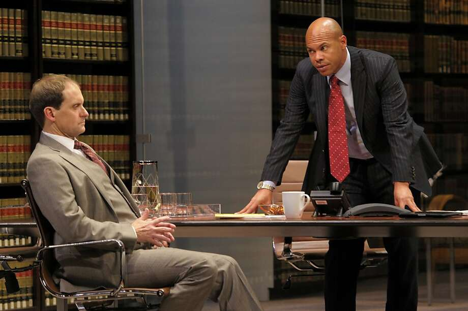 "Law firm partners Jack Lawson(Anthony Fusco) and Henry Brown (Chris Butler) discuss whether to take on the defense of a wealthy white man accused of raping a black woman in David Mamet's ""Race"" at ACT Photo: Kevin Berne"
