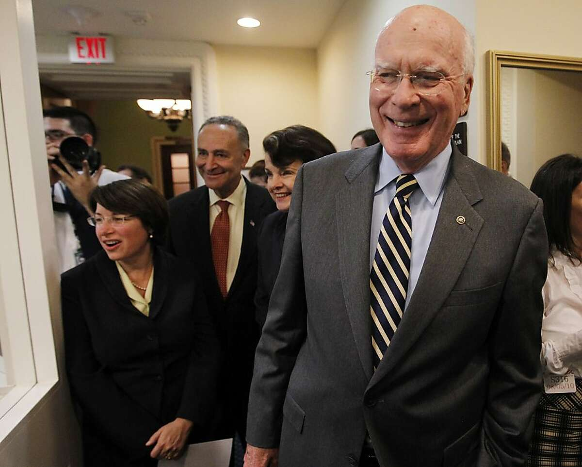Senate Judiciary Committee Chairman Sen. Patrick Leahy, D-Vt., right, smiles as he stands with, from left, Sen. Amy Kobluchar, D-Minn., Sen. Charles Schumer, D-N.Y., and Sen. Diane Feinstein, D-Calif., on Capitol Hill in Washington, Thursday, Aug. 5, 2010, after the Senate voted to confirm Elena Kagan as Supreme Court justice. (AP Photo/Charles Dharapak) Ran on: 08-06-2010 Senate Judiciary Committee Chairman Sen. Patrick Leahy, D-Vt., (right) is pleased after the Senate vote. With him on Capitol Hill are (from left) Sens. Amy Kobluchar, D-Minn., Chuck Schumer, D-N.Y., and Dianne Feinstein, D-Calif.
