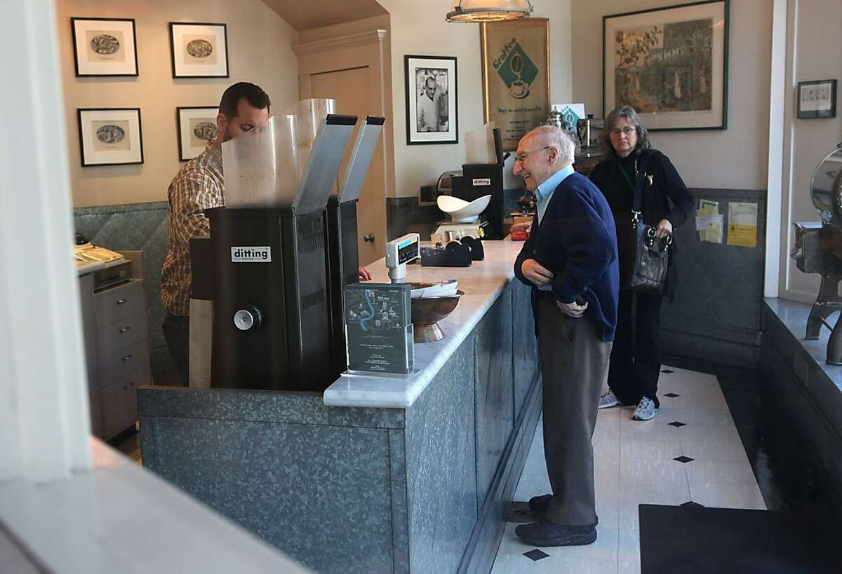 Retired UCSF professor Nicholas Petrakis has been buying coffee at Graffeo Coffee roasting company in the North Beach in San Francisco, Calif., since the late 1940's and is making a visit on Monday, September 26, 2011. The company has been family run and owned since 1935.